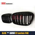F48 Front Grills ABS Dual Slat Bumper Kidney Grille Mesh For BMW X1 F48 2015 - IN 5-Doors Wagon Hatchback Glossy Black