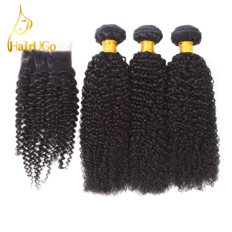 HairUGo Pre-colored Hair Kinky Curly Brazilian Hair Weave Bundles with Closure 100% Human Hair Non-Remy Hair Extension