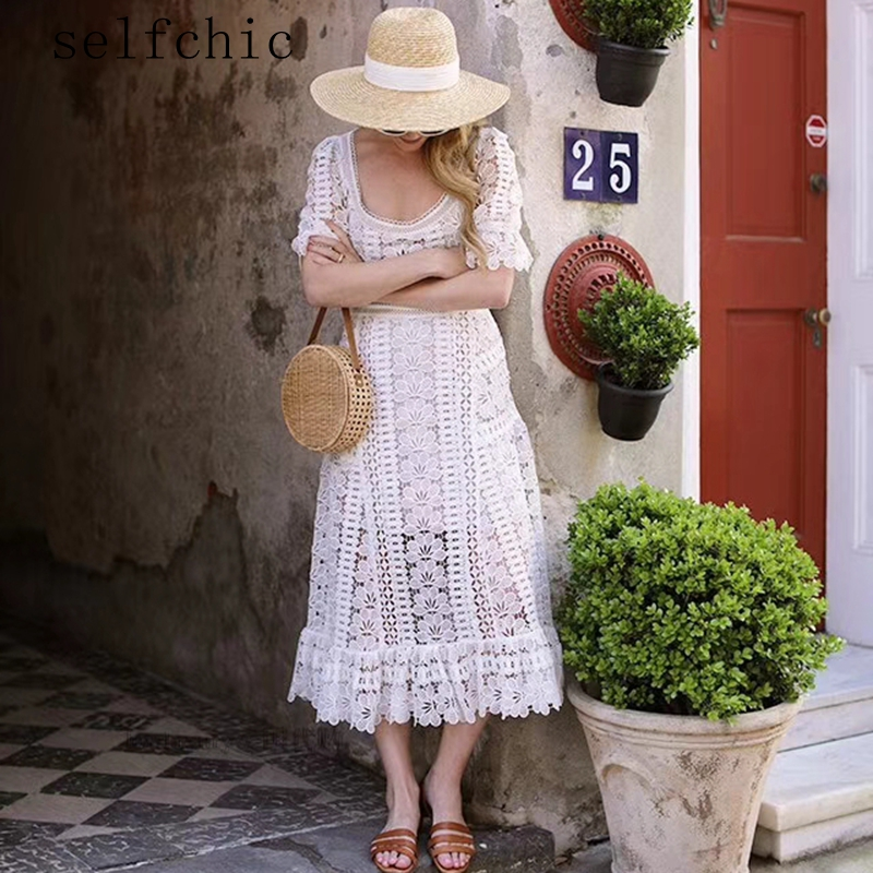 White Robes Midi Femmes Haute Taille Robe 2018 Blanc Dentelle HCwqWU18