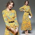 Ol otoño partido estilo de la señora ocasional de la vendimia vestidos de manga larga estampado de flores amarillas imperio una línea de o-cuello de las mujeres dress plus size