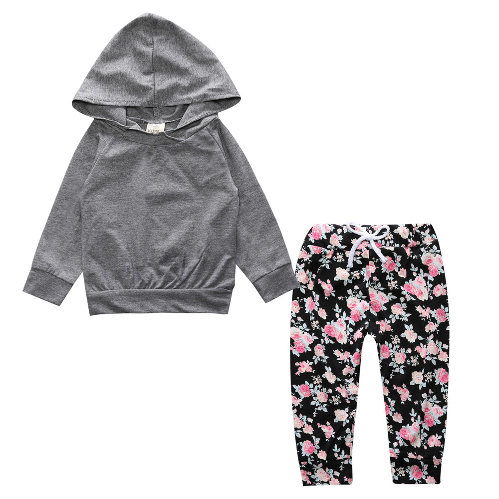 2018 New baby girl clothing set Long-sleeved grey hoodie+floral pants 2pcs Toddle baby g ...