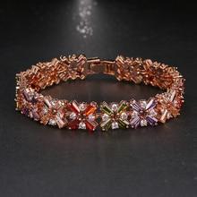 Emmaya Hot Sale Rose Gold Color Shining Bracelet Multicolor CZ Stones Cluster Women Bracelet Jewelry Wedding Party Gift