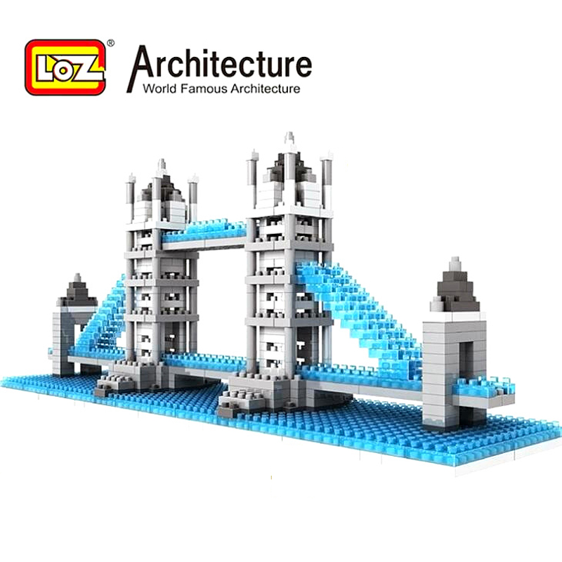 LOZ Diamond Blocks World Famous Architecture Tower Bridge Building Blocks Kids Educational Toys Mini Blocks Brinquedos loz world famous architecture nanoblock daming palace china city mini diamond building block model educational toys for kids