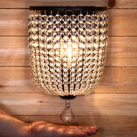 American Style High Quality K9 Crystal Bead Wall lamp Coffee Shop Bar Decorative lighting Hotel Hallway Store Club Cafe Beside