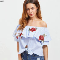 Blue Stripes Off The Shoulder Cropped Blouse Ruffles Layered Floral Embroidery Hollow Out Tie Front Short