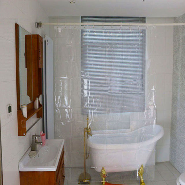 PEVA Waterproof Transparent Plastic Shower Curtains For Bathroom Hotel Home Bath Decoration Cut Off Hooks Pads QX A124