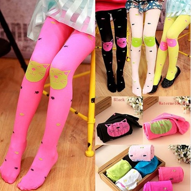 b8a918df92b5d Kids Girls Colored Tights Velvet Candy Colors Cute Cat Fish Tights for Baby  Children Pantyhose Stocking Autumn
