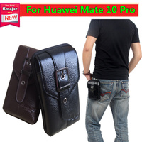 Men Black Brown Leather Belt Phone Pouch Hoslter Waist Bag Case For Huawei Mate 10 Pro