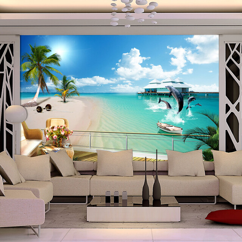 Custom 3D Photo Wallpaper Mediterranean Beach Large Wall Murals Living Room  TV Background Home Wallpaper Decor Mural Wall Paper In Wallpapers From Home  ... Part 28