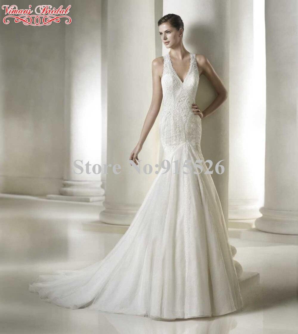 Viman свадебный кружево русалка свадьба платье аппликации с v-образным вырезом вырез «капля» задняя часть минимальный уровень - Vestidos Novia AT114