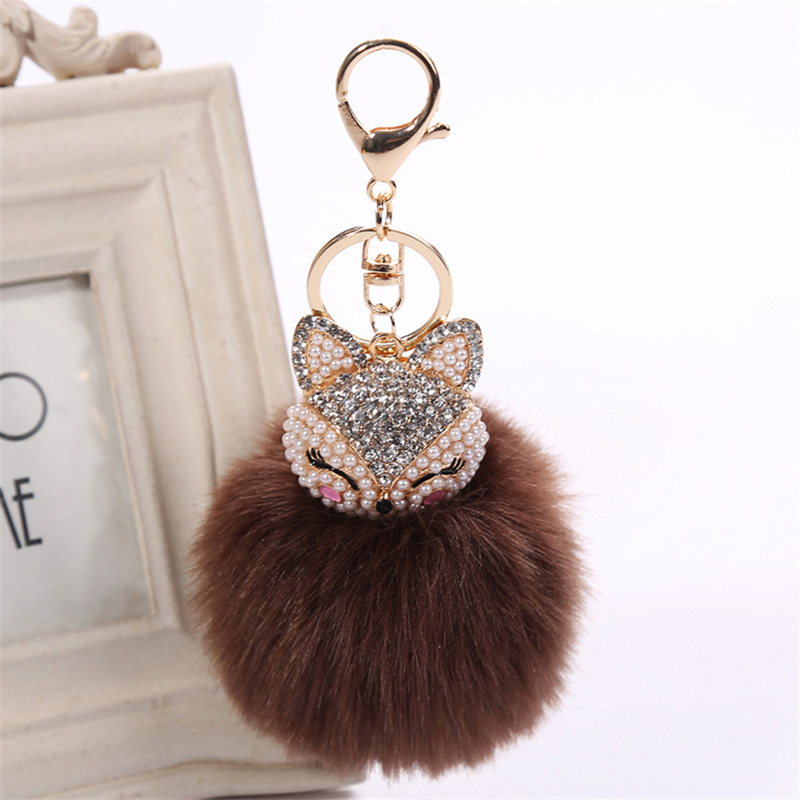 2017 New Artificial Rabbit Fur Ball Keychain Rhinestone Crystal Fox Head Pompon Trinket Key Chain Handbag Fluffy Key Ring Holder 17