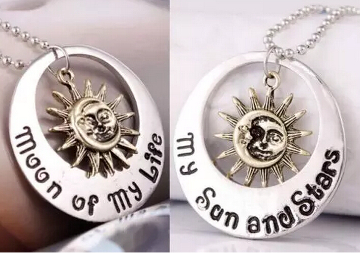 Vintage Silver Moon Of My Life My Sun &Stars Rhinestone Owl Elephant Gold Caribbean Charms Choker Necklace Pendant Jewelry Q821