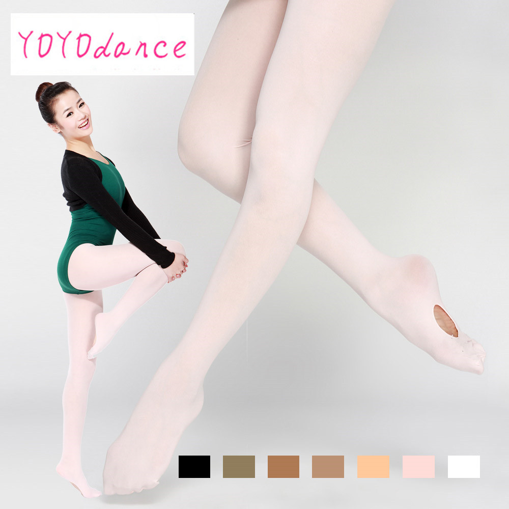 Wholesale Adult Women Pink Dancewear Ballet Soft Microfiber Convertible Dance  Tights With Holes For Sale