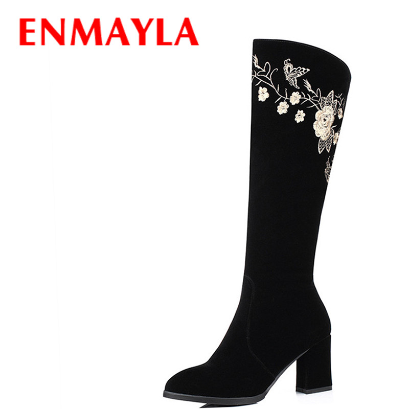 Airfour Women High Heels Knee-high Boots Shoes Woman Spring &Autumn Zippers Round Toe Platform Fashion