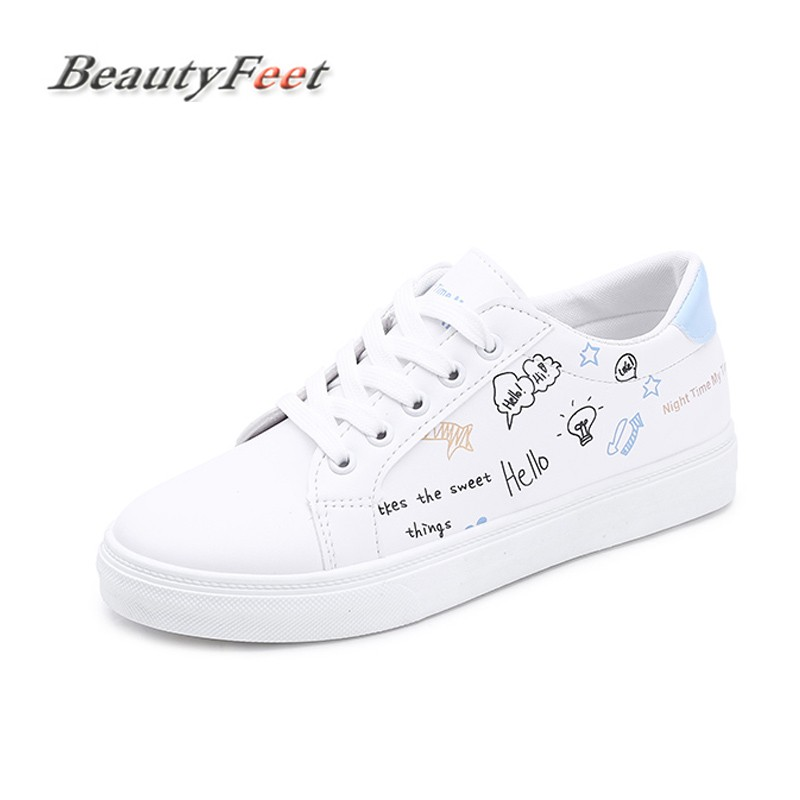 BeautyFeet Flats British Oxford Shoes for Women Spring Canvas Flat Heel Casual Shoes Woman Graffiti Lace Up Women Shoes Female 2018 new canvas shoes spring summer women shoes genuine leather canvas shoes female round toe flat shoes lace up female canvas s