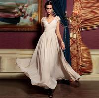 Бесплатная доставка 2016 Обнаженная цвет V образным Вырезом дизайн длинный вечернее платье cap рукавом вечернее платье девушки бальные платья