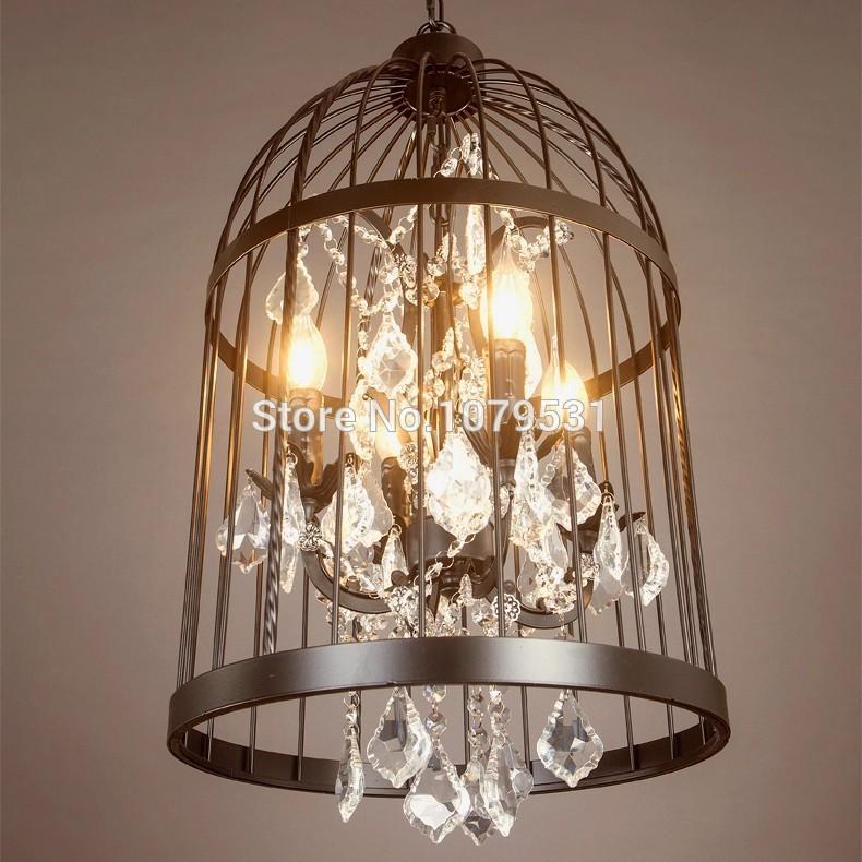 Nordic Birdcage Crystal Pendant Lights Iron Cage Home Decor American Vintage Industrial Lamp Retro Lamparas Colgantes