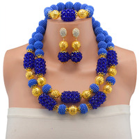 Beautiful Blue crystal necklaces costume jewelry nigerian wedding african beads jewelry set for women