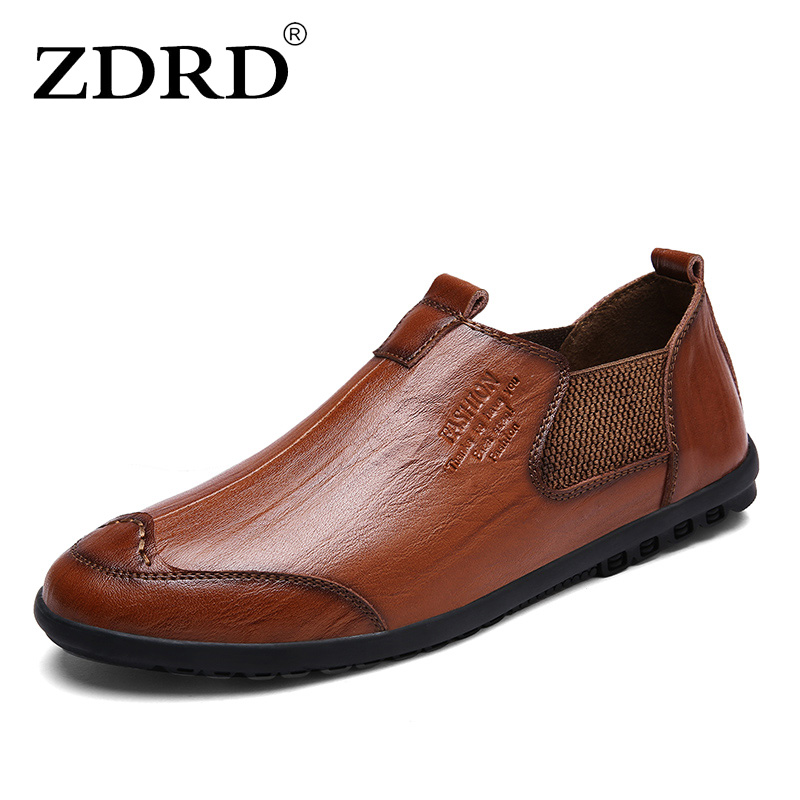 ZDRD Hot Sale Handmade High Quality Genuine Leather Men Flats Breathable Causal loafers Shoes Slip-on Business Lazy Driving Shoe wonzom high quality genuine leather brand men casual shoes fashion breathable comfort footwear for male slip on driving loafers