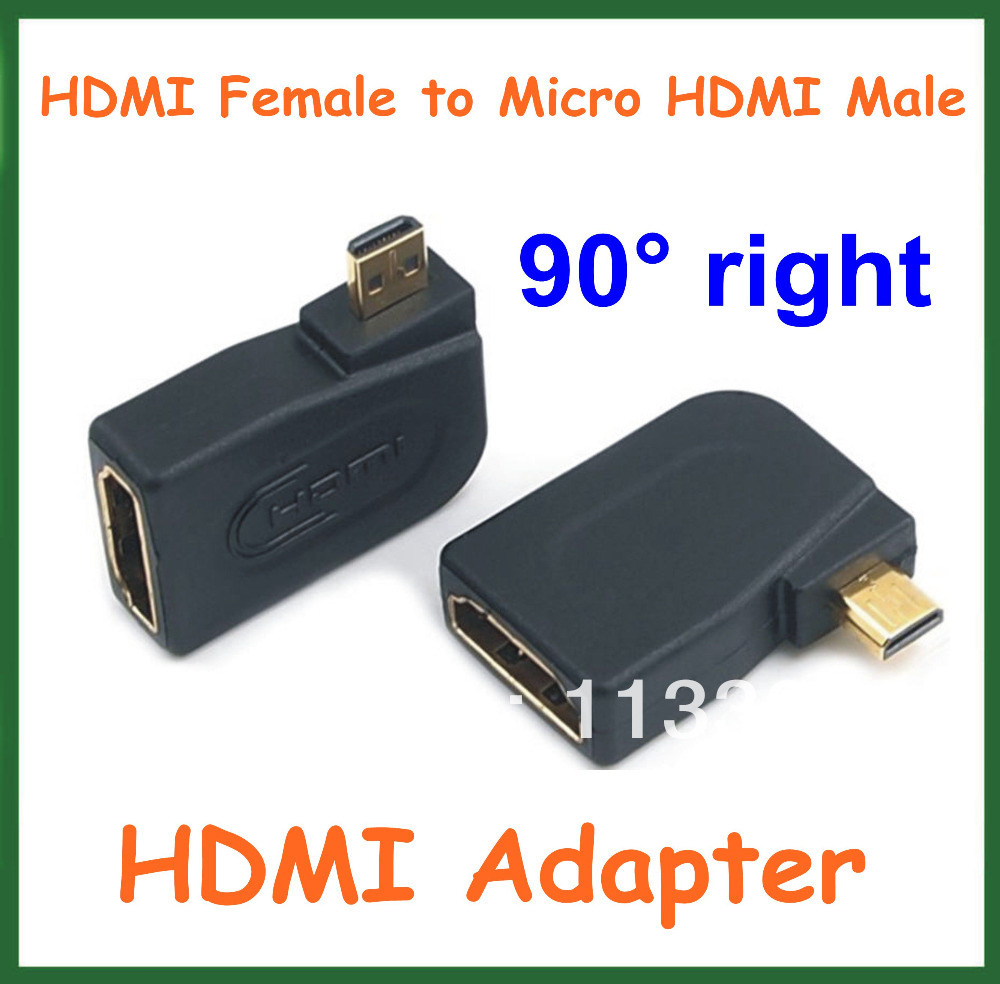 2pcs HDMI Adapter HDMI Female To Micro HDMI Male 90 Degree Angle Right Converter Connector For Cable HD TV DVD HDMI Extender