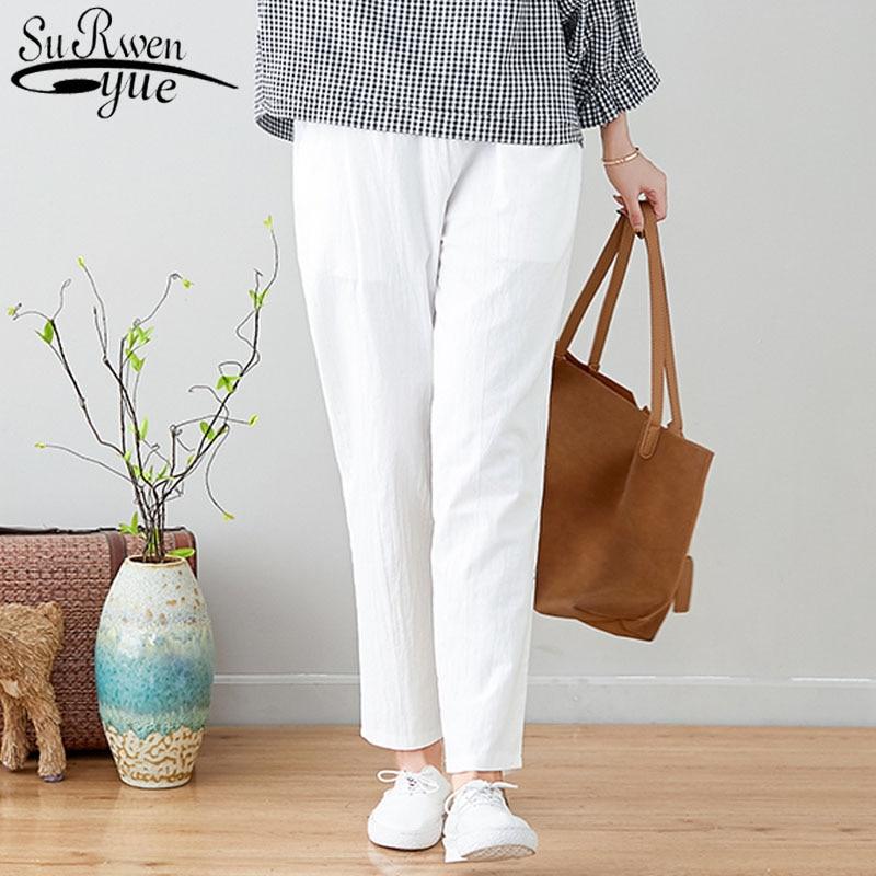 Women Fashion Pants 2019 Spring Large Size Literary Cotton Elastic Plus Size Women Regular Personality Women Pants 3214 50