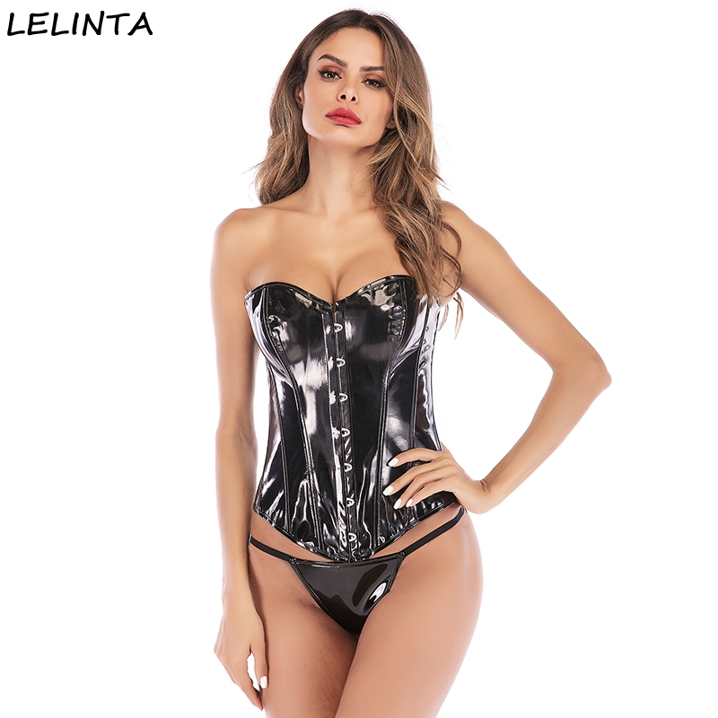 LELINTA Black PVC Leather Steampunk Gothic Wasit Trainer Overbust   Corset     Bustier   Body Control Waist Push up Breast Wrap   Corsets