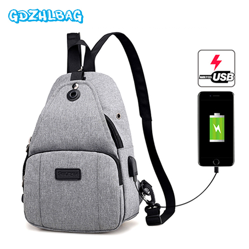 Men USB mini backpack Bag New Fashion Canvas Male Shoulder Bag Casual Travel Chest Bag Women Small Crossbody Backpack b309 vintage canvas chest bag men new crossbody shoulder bag multifunction casual travel bag fashion large capacity chest bag for men