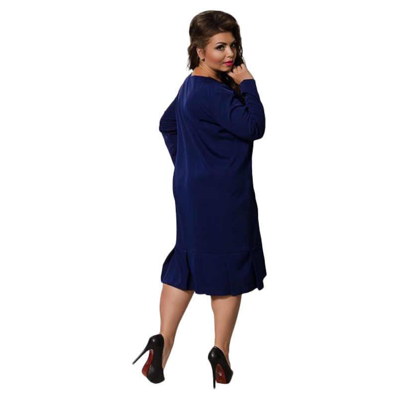6dace90855a ... ECOBROS Большие размеры 6XL 2018 осень жира мм Женские платья  элегантные платья до колен Большие размеры ...