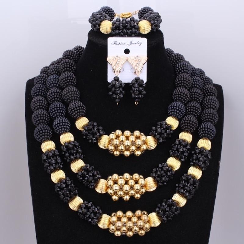 Perles africaines nigérianes mariage ensembles de bijoux noir marque collier or couleur boules ensembles de bijoux livraison gratuite 2018 bijoux de mariée