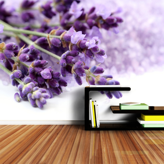 ShineHome Natur Tapete Für 3 D Wohnzimmer Schlafzimmer Wandbild Rollen 3d  Wände Tapeten Lila Lavendel