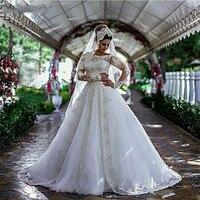 С открытыми плечами Длинные рукава Свадебные платья с разрезом спереди Наложение мусульманские свадебные платья