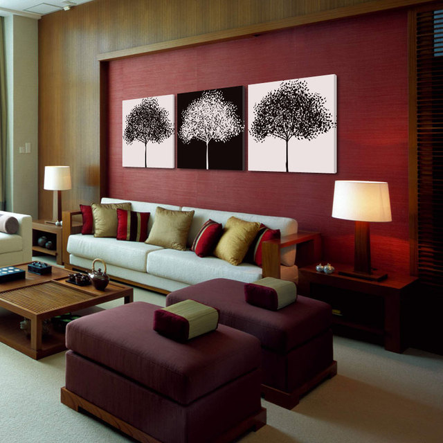 3 Piece Black And White Tree Of Life Photo Prints Abstract Modern Canvas  Wall Art Bedroom