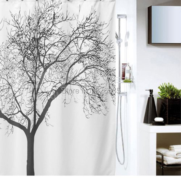 180180cm Waterproof Tree Branch Pattern Shower Curtains Polyester Fabric Bath Modern Room Curtain
