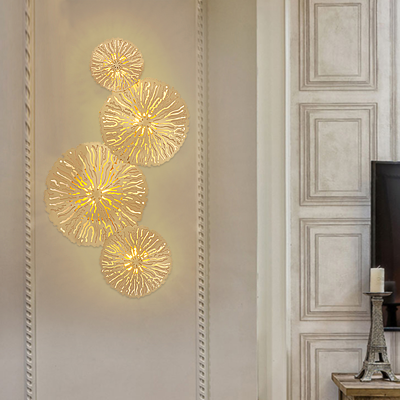 Nordic Restaurant Bedside Wall Lamp Living Room Background Wall Lights Model Houses Decorative Copper Lamp Aisle led Wall Sconce chic lotus pattern removeable decorative background wall sticker