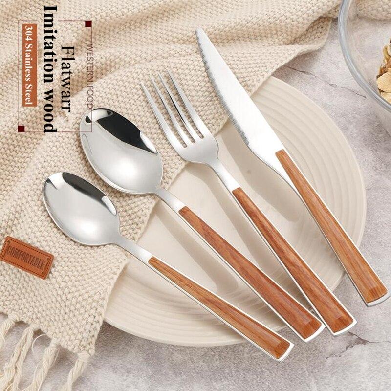 24pcs KuBac Hommi Quality 18 10 Stainless Steel Dinnerware Set Brown Imitation Wood Handle Cutlery Set