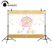 Allenjoy unicorn backdrop photography cute rainbow Golden children birthday photocall backgrounds for photo studio photophone