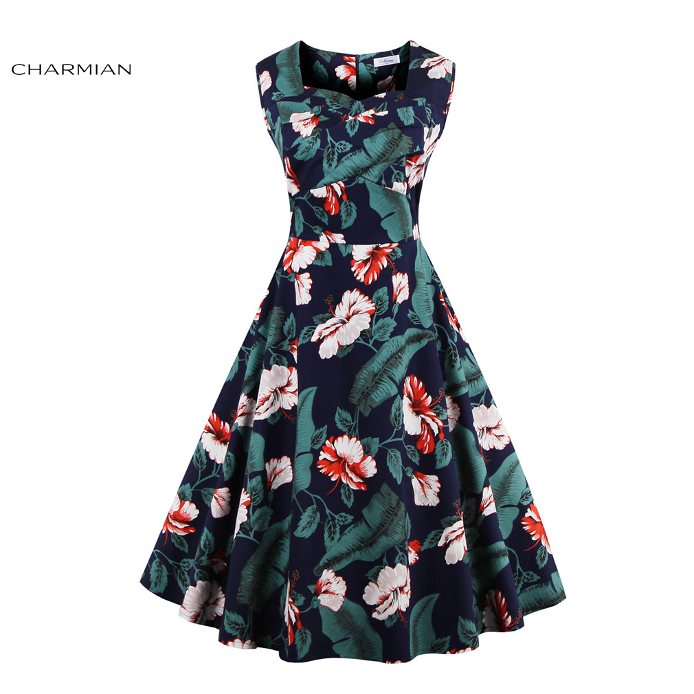 Charmian Women\'s Summer 1950\'s Retro Vintage Dress Chinese Classical ...