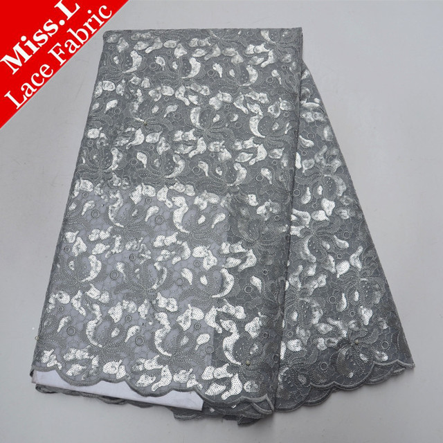 Miss L Silver Embroidery African Lace Fabric With Beads French Sequins Lace Fabric With Stones 5 Yards High Quality For Garment