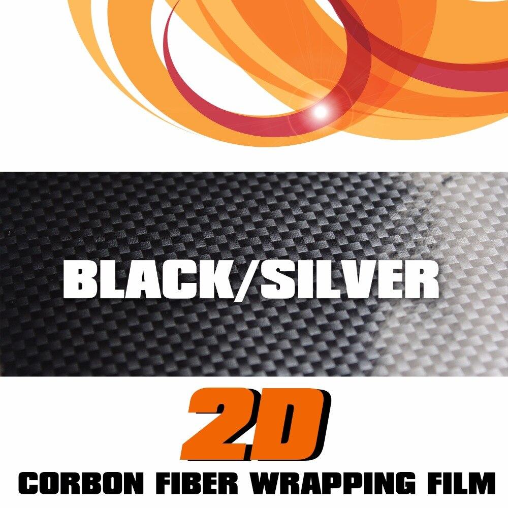 """12 \""""x 50\"""" 2D de Fibra de Carbono Pegatinas Impermeable Envoltura de Película D"""