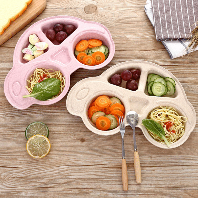 Kid Safe Silicone Bowl Suction Cup Baby Tableware Baby Feeding Dining Dishes Food Plate Car Shape Silicone Feeding Mat Tray Dish
