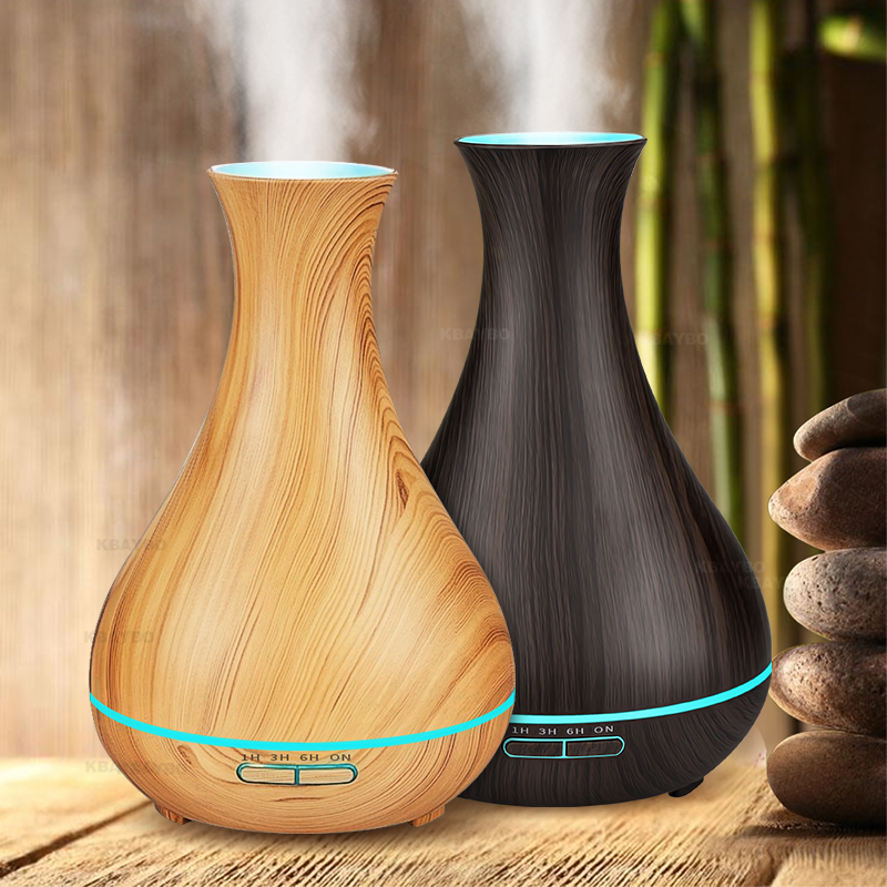 DEKAXI 550ml Ultrasonic Essential Oil Diffusers Air Humidifiers Wood Grain Diffuser Aroma Mist Maker with Led Light for Home