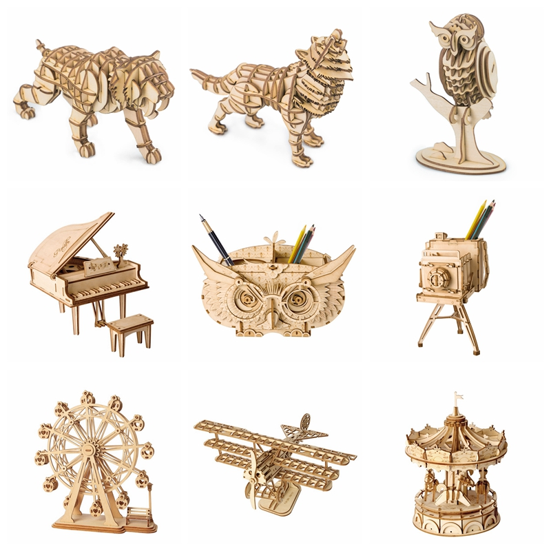 Robotime DIY 3D Wooden Animal&Building Puzzle Game Assembly Toy Gift for Children Kids Adult Model Building Kits Hobbies TG207 70pcs diy wooden theatre mechanical transmission model assembly puzzle toy for kids xmas gift
