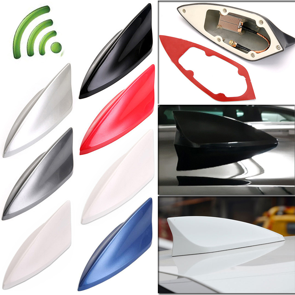 Black Upgraded Signal Universal Shark Fin Antenna Car Roof FM//AM Radio Aerial