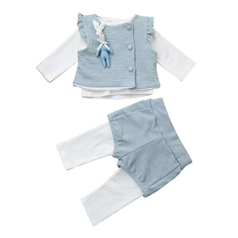 3PCS Newborn baby girl clothes Bunny Waistcoat Ruffles T-Shirt Pants Clothes Set newborn clothes baby girl roupa infantil ...