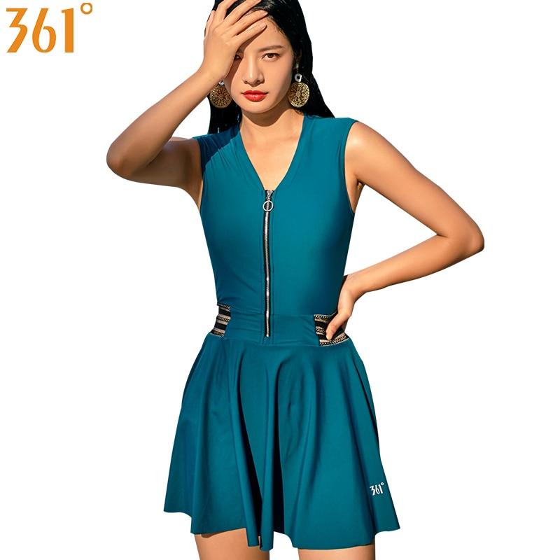 US $22.93 37% OFF|361 One Piece Swimsuit Women Plus Size Bathing Suit  Modest Swim Dress Ladies Slim Swim Suit Black Zipper Bather Female  Swimwear-in ...