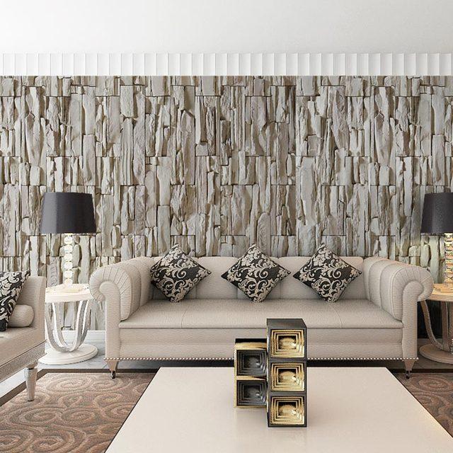 Modern 3d Grey Brick Wallpapers Custom Photo Wall Mural 3 D Living