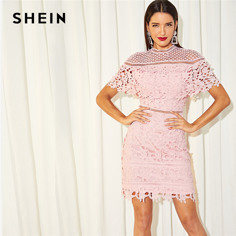 SHEIN Going Out Stand Collar Mock Neck Guipure Lace Cut Out Appliques Long Sleeve Dress