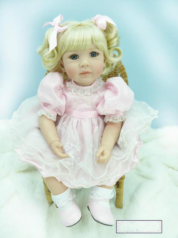 20 Inch Silicone Reborn Baby Dolls Play House Gift for Girls Pink Princess Doll Adorable Doll Lifelike Birthday Gift Kids Toys