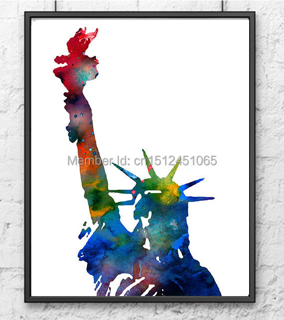 New York City Picture Canvas Painting Modern Wall Art: Modern Abstract Statue Of Liberty New York City Wall Art