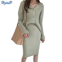 HziriP 2017 Autumn Winter 2 Piece Sweater Dress Set Women Long Sleeve Office Wear V Neck